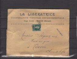 """34 - Bessan - La Liberatrice - Cooperative Vinicole Departemantale - Courrier Convoyeur """" Lodeve A Beziers """" - Marcophilie (Lettres)"""
