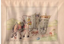 Superbe Dessin Humoristique Original « La Raison Du Plus Fort… », J. Gaizot (?), Algérie, 1947 - Aquarelles