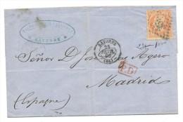 SOBRE CON MARCA OVALADA BAYONNE Y FECHADOR BAYONN 23 FEVR 66 (64) MARCA P.D - 1863-1870 Napoleone III Con Gli Allori