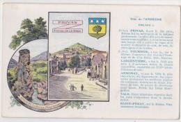 Blason Département De L´ Ardèche - Carte Publicitaire Les Pastilles Valda - Privas