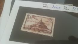 LOT 228579 TIMBRE DE FRANCE NEUF** N�260a VALEUR 50 EUROS