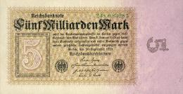 Deutschland, Germany - 5 Mrd. Mark, Reichsbanknote, Ro. 112 B,  ( Serie X ) XF+ ( II+ ), 1923 ! - [ 3] 1918-1933 : Repubblica  Di Weimar