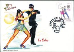 F�TE DU TIMBRE 2014 ARUDY (64) - T.P. Salsa sur Carte postale FFAP Danseurs de Salsa Obl 11.10.2104