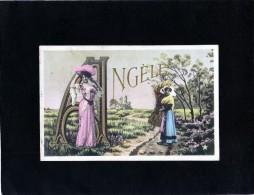 Carte  Fantaisie  . Prénom ANGELE / Jeune Femme élégante Avec Chapeau , Jeune Paysanne - Firstnames