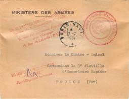LETTRE  MINISTERE DES ARMEES  DIRECTION DES SERVICES FINANCIERS PARIS NAVAL 17/7/1964   MARCOPHILIE - Marcofilie (Brieven)