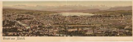 CPA DOUBLE SUISSE ZURICH Gruss Aus Panorama Carte Colorisée 1904 - ZH Zurich