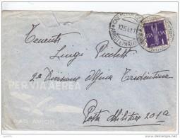 posta militare   201 TIMBRO AL RETRO ALBANIA da cremona 19 5 1941 + lire 1
