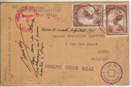Congo Belge n� 177 2x sur carte postale de fortune - censure Congo Belge - Stanleyville 1941