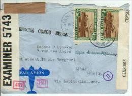 Congo Belge 2 x  n� 202 sur lettre - Stanleyville 1940 - Censure Congo Belge