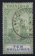 Trinidad 1896 Mi Nr 45 , 10  Shillings Used , Watermark 3, Cat Value 340 - Trinidad En Tobago (...-1961)