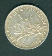 1 Francs Argent 1916  Pieb7105 - H. 1 Franc