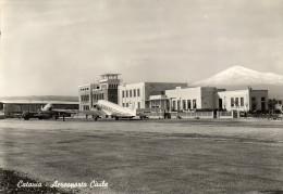 CARTOLINA D�EPOCA   DI CATANIA AEROPRTO CIVILE  VIAGGIATA 1955
