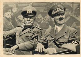 CARTOLINE D'EPOCA   DI MUSSOLINI CON HITLER NELLA TERRA DELL'ALLEATO IL FRATERNO SALUTO DELLE CAMICE NERE IN GERMANIA - Historia