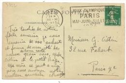 FLAMME PARIS JEUX OLYMPIQUES 1924 Sur CP Semeuse. - Lettres Taxées