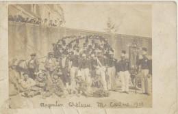 CPA 79 Carte-photo Argenton Ch�teau Mi-Car�me 1908, fanfare et d�guisements pour le carnaval, Pompiers ?