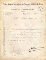 Facture Faktuur - Transport Gontrand Frères - Tourcoing 1912 - Factures & Documents Commerciaux