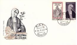 fdc  Roma  Italia : S. CATERINA da SIENA 1962; no viaggiata; AF_Rieti