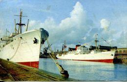 """N°39954 -cpsm """"Fort Richelieu"""" Bananiers Dans Le Port De Dieppe- - Commerce"""