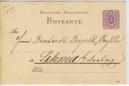 Reichspost, Postkarte,, Ca. 1888,  Geschrieben, Nicht Gelaufen - Germany