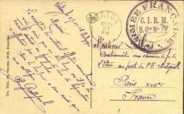 "Kaart uit Virton 12/18 naar Parijs met ""Arm�e Fran�aise * C.I.R.M. S.Con N�.....""."
