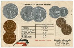 CARTOLINA CON RAPPRESENTAZIONE MONETE PAVILLON NATIONAL MONNAIES COLONIE ALLEMANDE AFRIQUE DE L'EST GERMANIA - Monete (rappresentazioni)