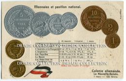 CARTOLINA CON RAPPRESENTAZIONE MONETE PAVILLON NATIONAL MONNAIES COLONIE ALLEMANDELA NOUVELLE GUINéE GERMANIA - Monete (rappresentazioni)