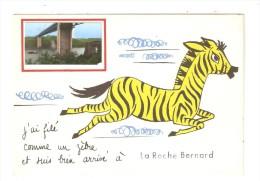CPA Fantaisie  : 56 -  La Roche Bernard : Ai Filé Comme Un Zèbre & Suis Bien Arrivé Illustration Zèbre + Photo Pont - La Roche-Bernard