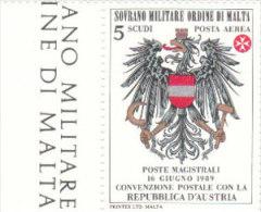 SMOM 1989  CONVENZIONE POSTALE CON REPUBBLICA  DI AUSTRIA - POSTA AEREA - INTEGRO - Sovrano Militare Ordine Di Malta
