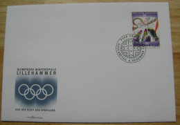 1994 LIECHTENSTEIN FDC 2 WINTER OLYMPIC GAMES LILLEHAMMER NORWAY ALPINE SKIING SLALOM - Winter 1994: Lillehammer