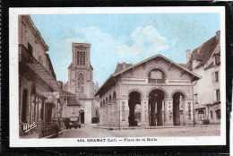46 GRAMAT PLACE DE LA HALLE COLORISEE CAFE VIEUX CAMION - Gramat