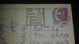 SP-000620 CARTOLINA VIAGGIATA DI ISOLA DI BIBIONE CON TIMBRO 50'' PARTITA A SCACCHI MAROSTICA 2004 - Affrancature Meccaniche Rosse (EMA)