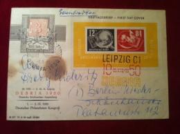 DDR Block 7 FDC First Day Cover Ersttagsbrief 26. August 1950 DEBRIA Leipzig