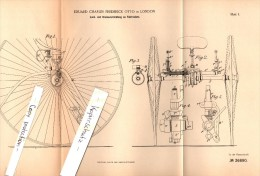 Original Patent - E.Ch. Otto In London , 1885 , Steering And Brake For Bicycle !!! - Transportation