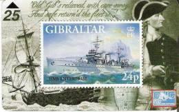 TARJETA DE GIBRALTAR CON UN SELLO DE UN BARCO (STAMP-SHIP) NUEVA-MINT - Sellos & Monedas
