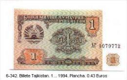 6-342. Billete Tajikistan. 1 - 1994. Plancha - Tayikistán