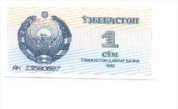 6-363. Billete Uzbekistan P-61. 1 Cym 1992.  Plancha - Tayikistán