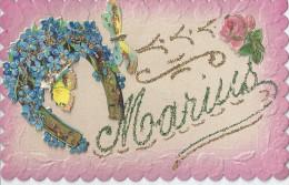 MARIUS  FER A CHEVAL DECORE DE BLEUETS PAPILLONS ET ROSE   -CARTE  GAUFFREE - Firstnames