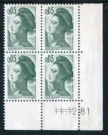 """Bloc** De 4  Timbres De 1982 """"0.05 - Marianne De Gandon - Type Liberté"""" Avec Date  11 . 12 . 81 (2 Traits) - Coins Datés"""