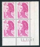 """Bloc** De 4  Timbres De 1982 """"0.15 - Marianne De Gandon - Type Liberté"""" Avec Date  13 . 11 . 81 (2 Traits) - Coins Datés"""