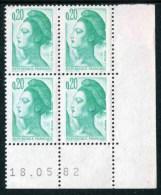 """Bloc** De 4  Timbres De 1982 """"0.20 - Marianne De Gandon - Type Liberté"""" Avec Date  18 . 05 . 82 - Coins Datés"""