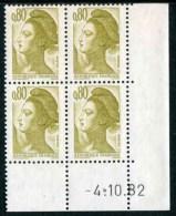 """Bloc** De 4  Timbres De 1982 """"0.80 - Marianne De Gandon - Type Liberté"""" Avec Date  4 . 10 . 82 - Coins Datés"""