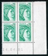 """Bloc** De 4  Timbres De 1977-78  """"0,20 - Marianne De Gandon -  Type Sabine"""" Avec Date  14 . 04 . 81 - Coins Datés"""