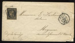 n�3 sur Fauve  (sign� Calves et Roumet) + grille + Paris 60  type 15/lettre de  Paris pour Meyssac pr�s Ussel (corr�ze)