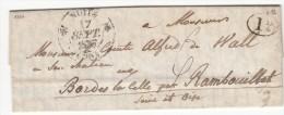 A73) LAC De Nuits (Cote D´Or) Pour Rambouillet Le 17 Septembre 1837, T12 + Décime Rural, Taxe Manuscrite - Postmark Collection (Covers)