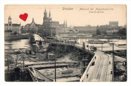 11994-LE-ALLEMAGNE-Dresden-Abbruch  Des Augustusbruecke-Interims- Bruecke--------------pont En Construction-tramway - Dresden