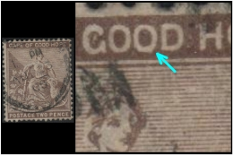"""Cape Of Good Hope (Symbols Of Colony) 2p. (Sc # 35) Plate Error: Alphabet """"O"""" Found Misshaped In The Text """"GOOD"""" (Used) - África Del Sur (...-1961)"""