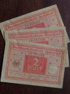 Darlehnskassenschein ZWEI Mark Berlin 1920 N° 15.382405 & 406 & 407 ( 3 Stuk / For Grade, Please See Photo ) ! - [ 3] 1918-1933 : République De Weimar