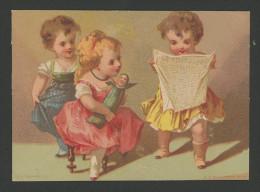 Ancienne Chromo Lith. Bognard,  BOG3-38 Trois Enfants, Jeux, Poupée, Lecture Le Petit Journal - Autres
