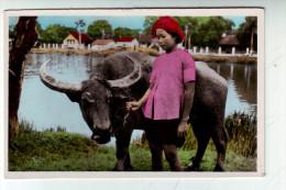 CPSM   SAIGON Jeune Fille  Buffle - Vietnam