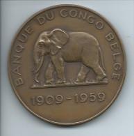 "M�daille ""Banque du Congo Belge / 1909-1959 / Matadi 1909 L�opoldville 1959 "" illustr�e El�phant"